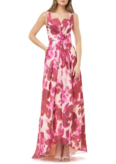 Carmen Marc Valvo Floral Bow Waist High/Low Ballgown