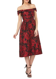 Carmen Marc Valvo Floral Brocade Off-the-Shoulder A-Line Dress