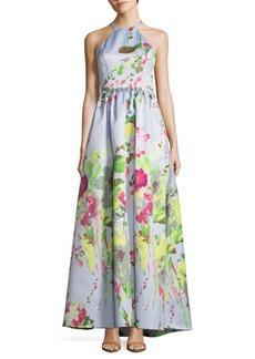 Carmen Marc Valvo Floral Floor-Length Dress