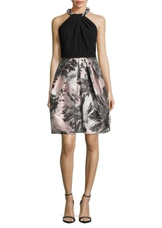 Carmen Marc Valvo Floral Halterneck Dress