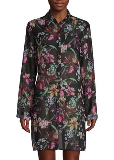 Carmen Marc Valvo Floral High-Low Coverup