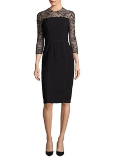 Carmen Marc Valvo Floral Lace Sheath