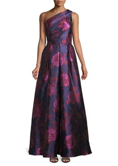 Carmen Marc Valvo Floral One-Shoulder Ball Gown