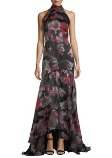 Carmen Marc Valvo Floral-Print Halter Sleeveless  Evening Gown