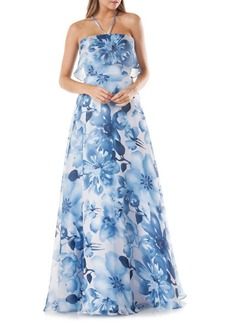 Carmen Marc Valvo Floral-Printed Organza Ball Gown