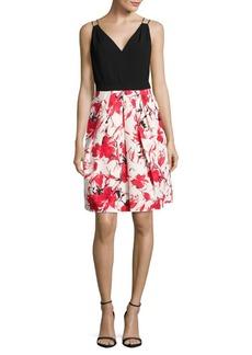 Carmen Marc Valvo Floral Skirt Dress