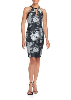 Carmen Marc Valvo Floral Split Neck Sheath Dress