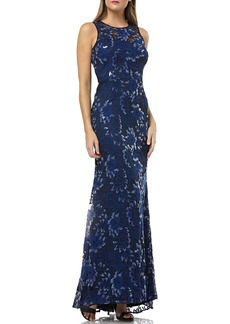 Carmen Marc Valvo Floral Threadwork Trumpet Evening Gown