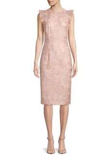 Carmen Marc Valvo Flutter-Sleeve Lace Dress