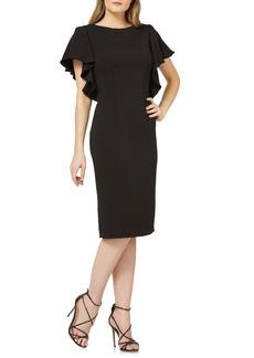 Carmen Marc Valvo Flutter Sleeve Sheath Dress