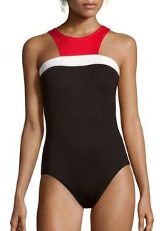 Carmen Marc Valvo Halterneck One-Piece Colorblock Swimsuit