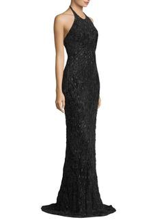 Carmen Marc Valvo Halterneck Textured Gown