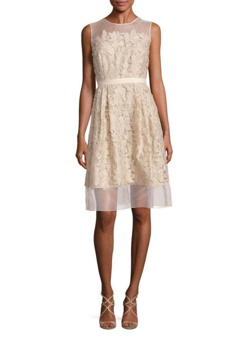 Carmen Marc Valvo Illusion Lace Applique Dress