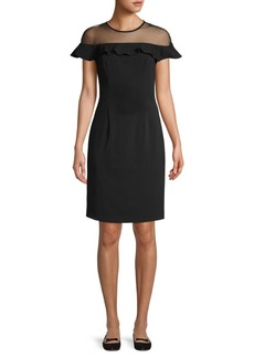 Carmen Marc Valvo Illusion Ruffle Trim Sheath