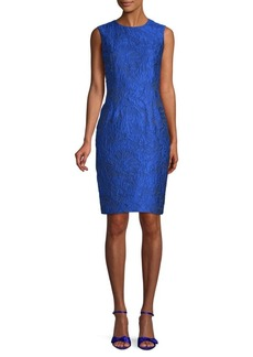 Carmen Marc Valvo Jacquard Sleeveless Sheath Dress