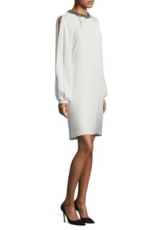 Carmen Marc Valvo Jewel Neck Dress