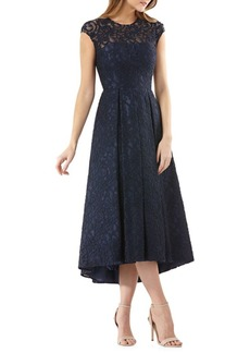 Carmen Marc Valvo Lace and Beaded Fit-and-Flare Cocktail Dress