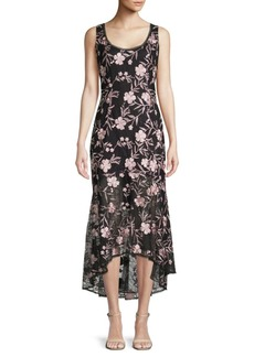 Carmen Marc Valvo Lace Midi Sheath Dress