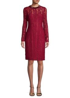 Carmen Marc Valvo Lace Sheath Dress