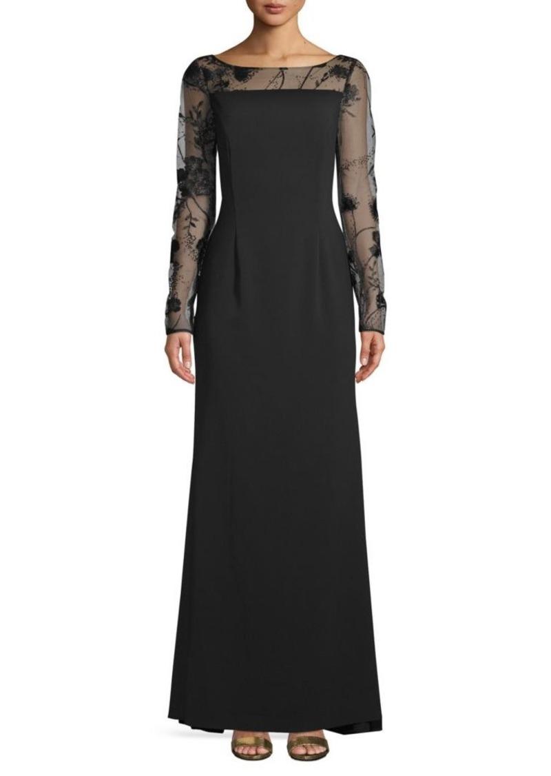 Carmen Marc Valvo Long-Sleeve Lace Evening Gown