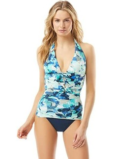 Carmen Marc Valvo Lush Verdure Ruched Halter Top with Bows Ties At Back Neck Removable Soft Cups