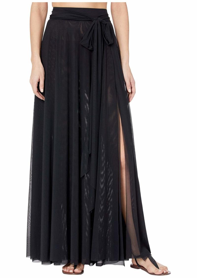 Carmen Marc Valvo Marche De Solids Mesh Side Tie Long Cover-Up Skirt