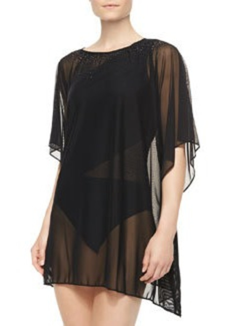 Carmen Marc Valvo Mesh Boat-Neck Cover-Up Tunic   Mesh Boat-Neck Cover-Up Tunic