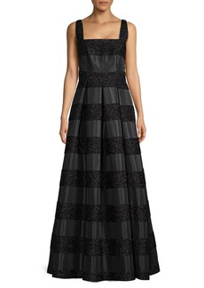 Carmen Marc Valvo Metallic Embellished Squareneck Gown