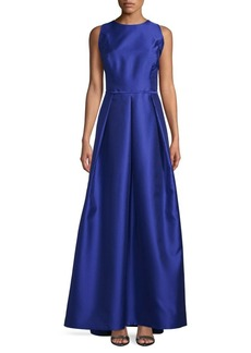 Carmen Marc Valvo Mikado Cutout Satin Ball Gown