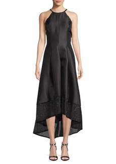 Carmen Marc Valvo Mikado High-Low Gown
