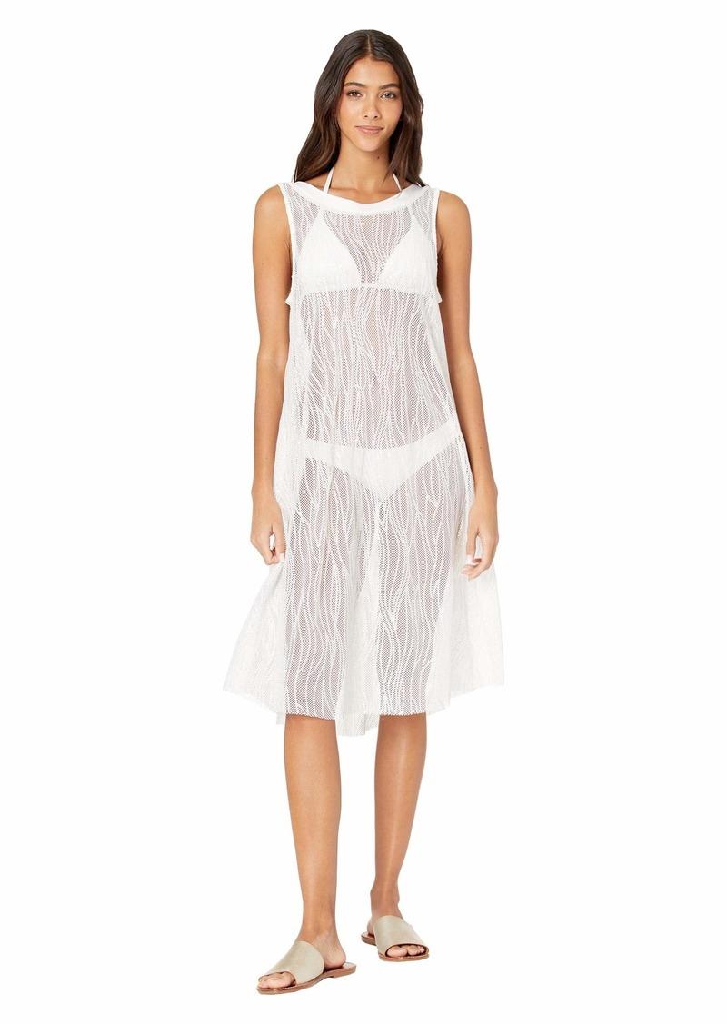 Carmen Marc Valvo Monaco Tides High Neck Mesh Cover-Up Dress w/ All Over Sequins