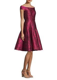 Carmen Marc Valvo Off-The-Shoulder Floral Lace Dress