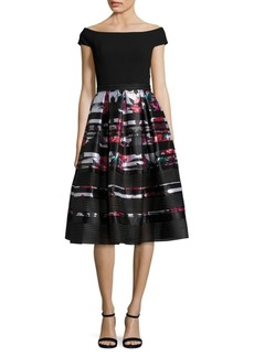Carmen Marc Valvo Off-The-Shoulder Printed Dress