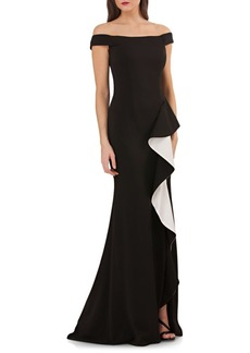 Carmen Marc Valvo Off-The-Shoulder Ruffle Trumpet Gown