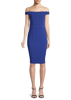 Carmen Marc Valvo Off-The-Shoulder Sheath Dress