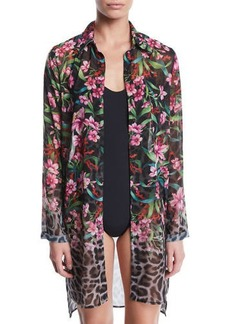 Carmen Marc Valvo Ombre Floral/Leopard Sheer Button-Down Coverup Shirt