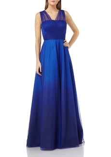 Carmen Marc Valvo Ombre Mikado Gown with Tulle Straps