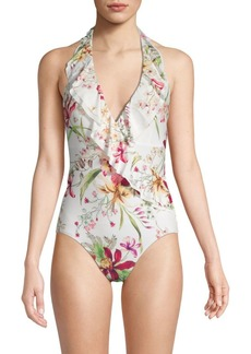 Carmen Marc Valvo One-Piece Botanical Print Swimsuit