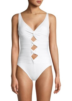Carmen Marc Valvo One-Piece Cut-Out Knot Swimsuit