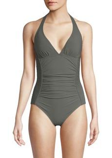 Carmen Marc Valvo One-Piece Smocked Halter Swimsuit