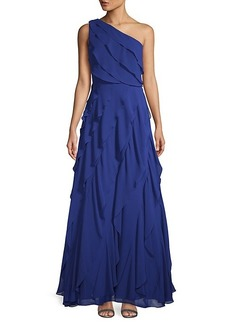 Carmen Marc Valvo One-Shoulder Asymmetric Tiered Evening Gown