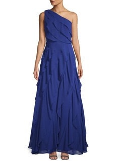Carmen Marc Valvo One-Shoulder Asymmetric Tiered Evening Gown