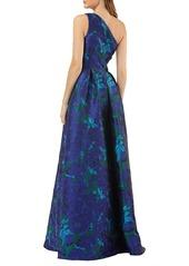 Carmen Marc Valvo One-Shoulder Floral Ballgown
