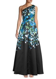 Carmen Marc Valvo One-Shoulder Floral Flare Gown
