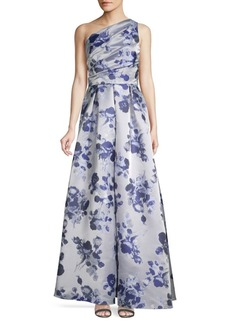 Carmen Marc Valvo One-Shoulder Floral Gown