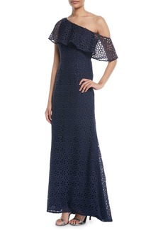 Carmen Marc Valvo One-Shoulder Popover Lace Gown