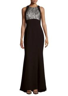 Carmen Marc Valvo Paisley Pattern Crepe Gown