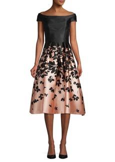 Carmen Marc Valvo Pleated Floral A-Line Dress