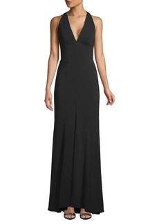 Carmen Marc Valvo Pleated Halter Gown
