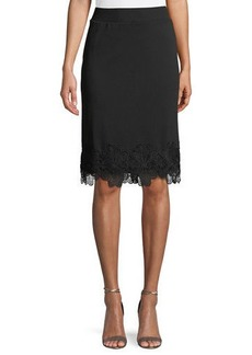Carmen Marc Valvo Pull-On Embroidered-Hem Pencil Skirt